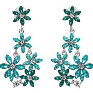🌟 Swarovski Crystals Blue Flower Dangle Earrings